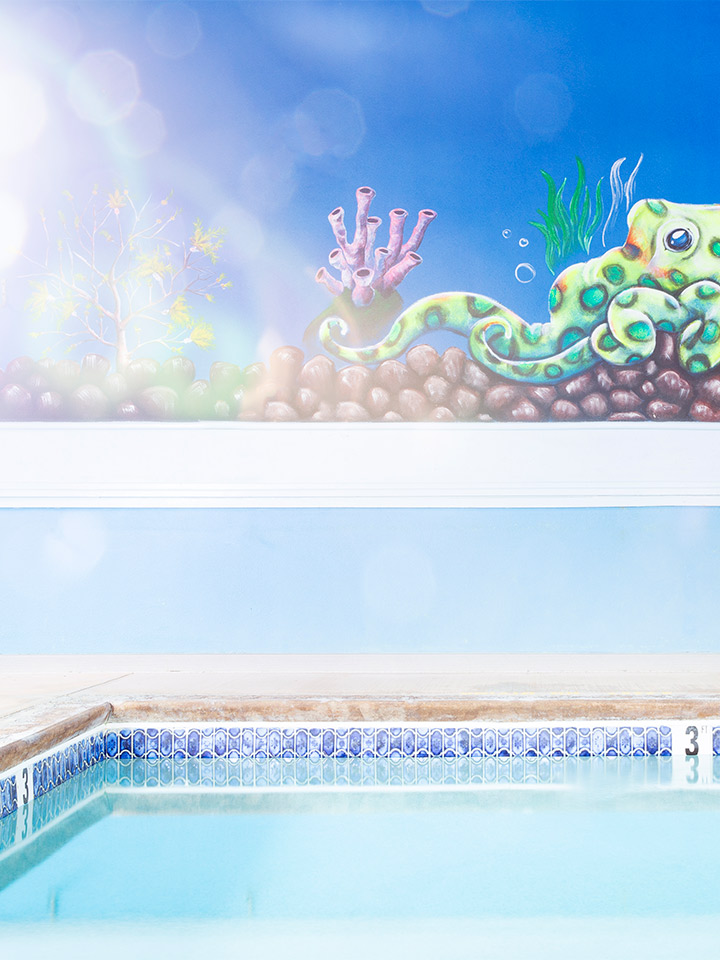 above is a drawing of an octopus underwater, and below is a pool