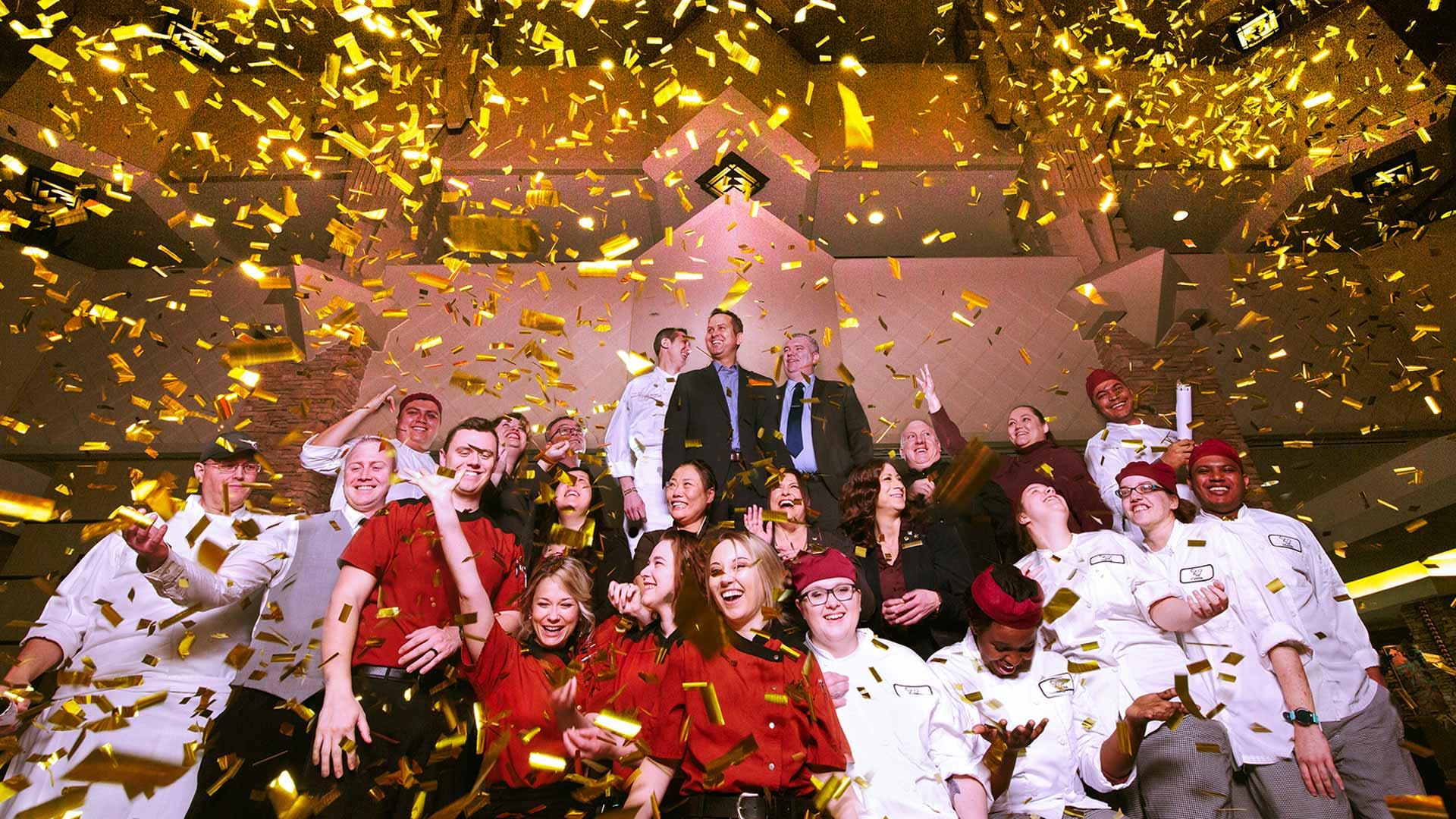 staff photo with confetti